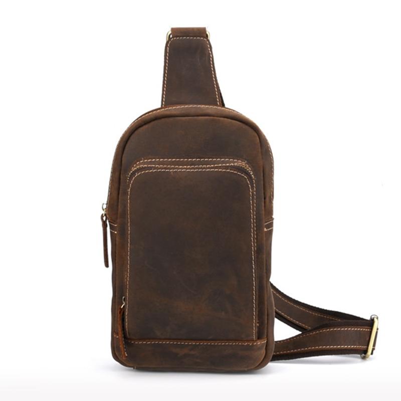 Genuine Leather Sling Rucksack Back Pack Shoulder Men Vintage Crazy Horse Cowhide Messenger Bag Casual Cross