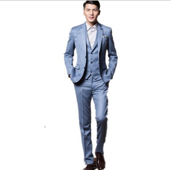 Nuevo Estilo Baby Blue Padrinos de boda Muesca Solapa Esmoquin Del Novio Mejor boda del Juego del Hombre/Novio/Trajes de Boda/Cena (Jacket + Pants + Vest)