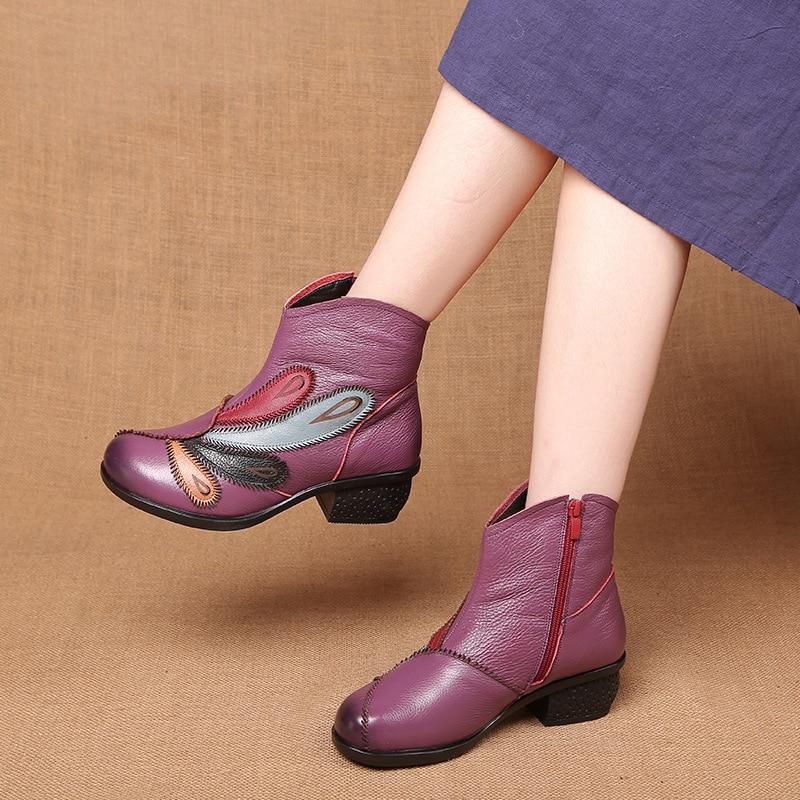 Botines Para Mujeres Mujer Invierno Suaves Zapatos Moda Genuino Más De Otoño 2018 Grande 40 Cuero Tamaño nHEawgd