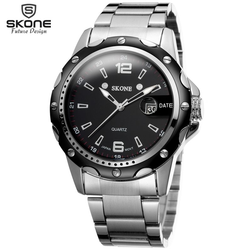 SKONE Men Watch Date Steel Band Silver Watches Hour Quartz Fashion Casual Dress Business Wristwatch Clock Male relogio masculino luxury brand burei men multifunctional business watches stainless steel date clock hour male quartz wristwatch relogio masculino
