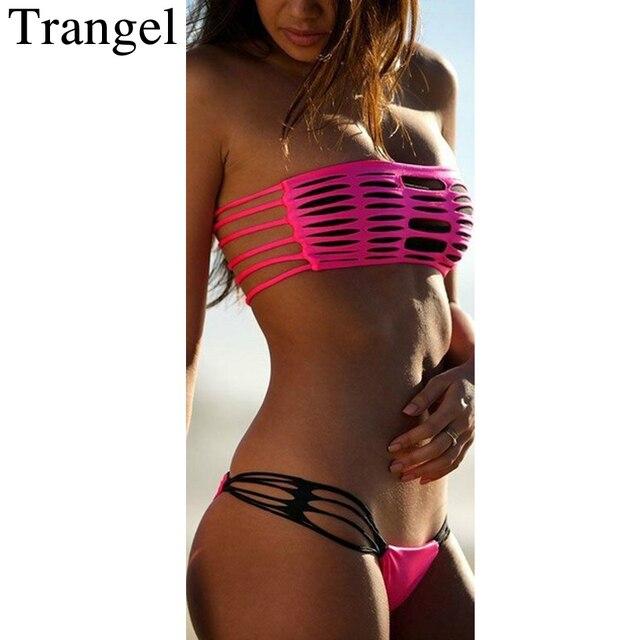 b33a8860781ba Trangel 2018 Rose Red swimwear Women Bandeau Bikini Cut Out Beach wear  Bandage Swimsuit Hollow Cut