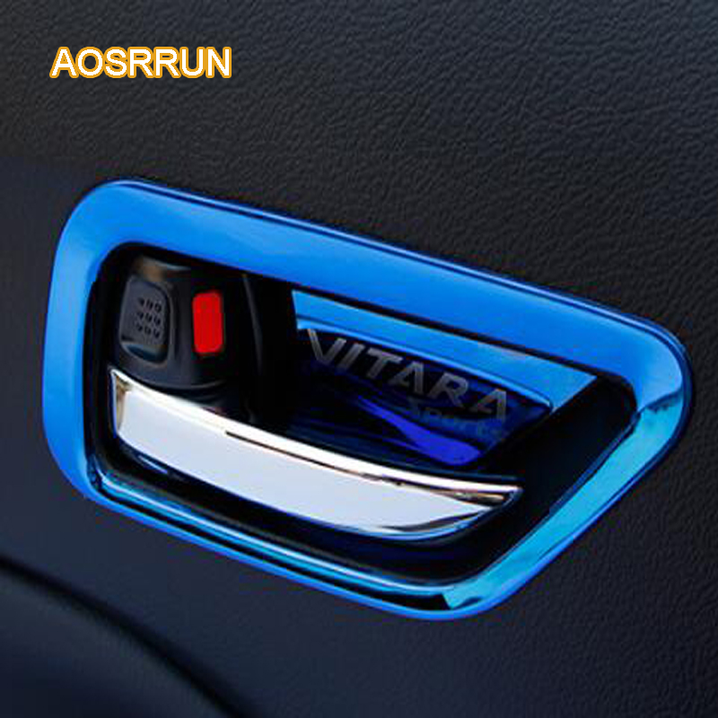 AOSRRUN Stainless steel inside door handle frame inside door bowl sequins Cover Car accessories For Suzuki vitara 2016 2017 2pcs set stainless steel 90 degree self closing cabinet closet door hinges home roomfurniture hardware accessories supply