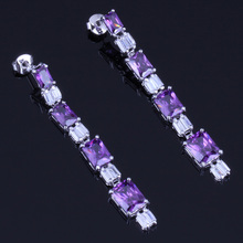 Lovely Rectangle Purple Cubic Zirconia White CZ 925 Sterling Silver Drop Dangle Earrings For Women V0201