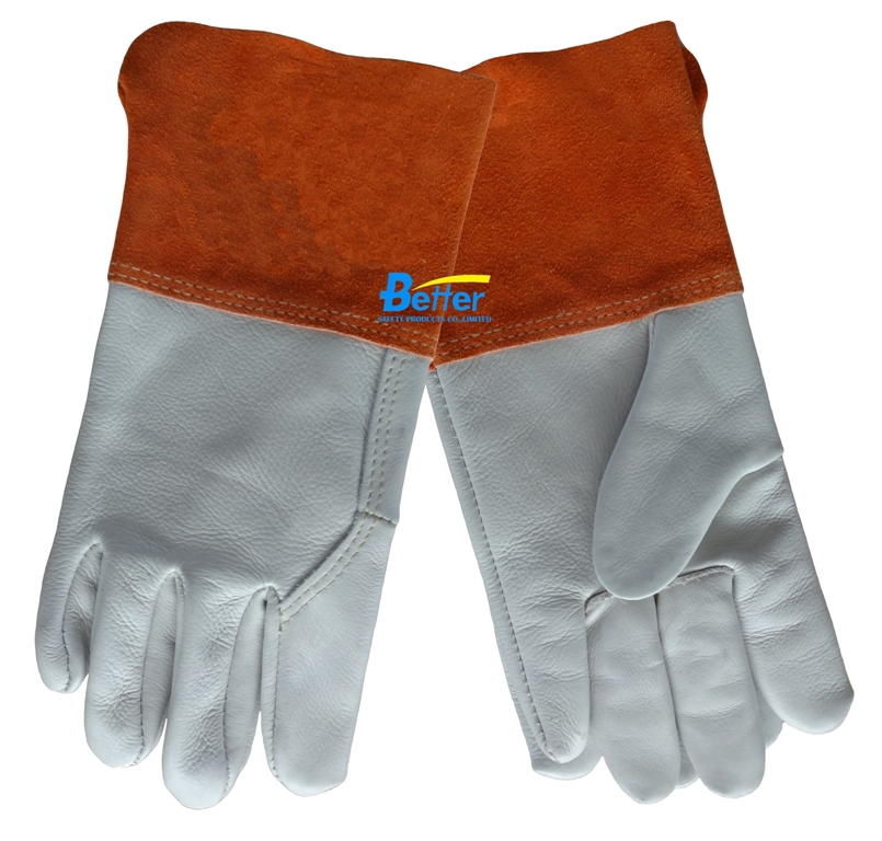 Leather Work Glove Gauntlet Split Leather Cuff  Mustang MIG/TIG Safety Glove Premium Grain Cow Leather Welding Glove leather safety glove deluxe tig mig leather welding glove comfoflex leather driver work glove