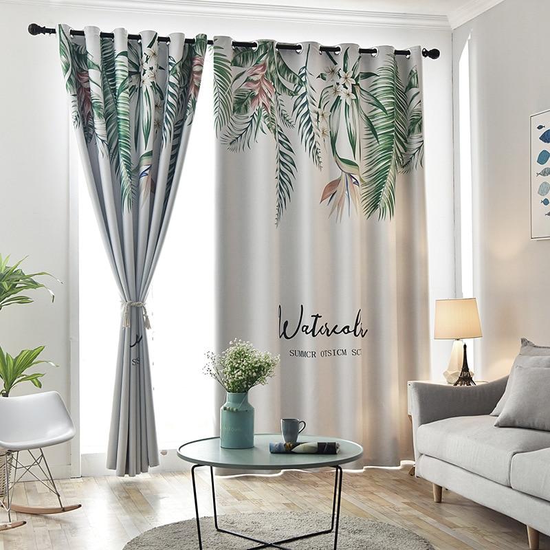 2 pièces/ensemble feuilles vertes tropicales tissu rideau fenêtre rideaux occultants pour chambre et salon