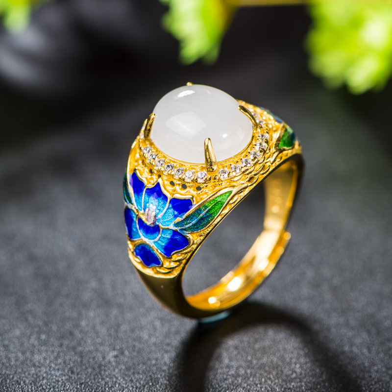 Retro Silver Jewelry S925 Sterling Silver Cloisonne Wild Peony Flower Open Ended Ring Craft Factory Direct SupplyRetro Silver Jewelry S925 Sterling Silver Cloisonne Wild Peony Flower Open Ended Ring Craft Factory Direct Supply