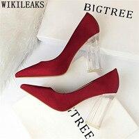 Bigtree shoes Thick heel high heels white pumps dress shoes women pumps women shoes sexy green shoes for women scarpe donna buty