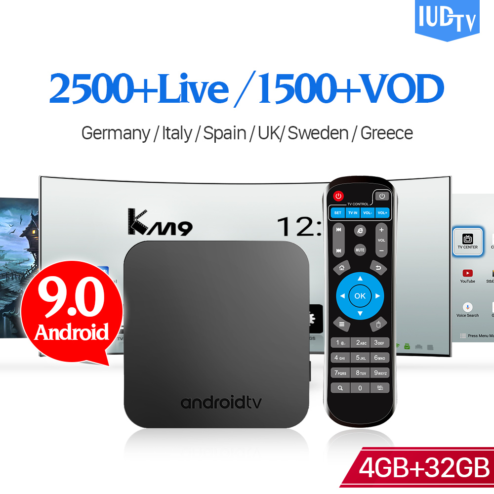 KM9 IPTV suède italie 4G 32G Android TV 9.0 BT 4.0 IPTV abonnement grèce UK double bande WIFI IP TV allemagne indien IPTV box