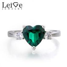 Leige Jewelry Wedding Ring Emerald Ring Green Gemstone Heart Cut Gemstone May Birthstone 925 Sterling Silver Ring for Women