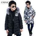 Winter Jacket Boys White Duck Down Coats Kids Outerwear Fur Collar Hooded Coat Long Warm Thicken Teen Boys Parkas Coats 5-14T