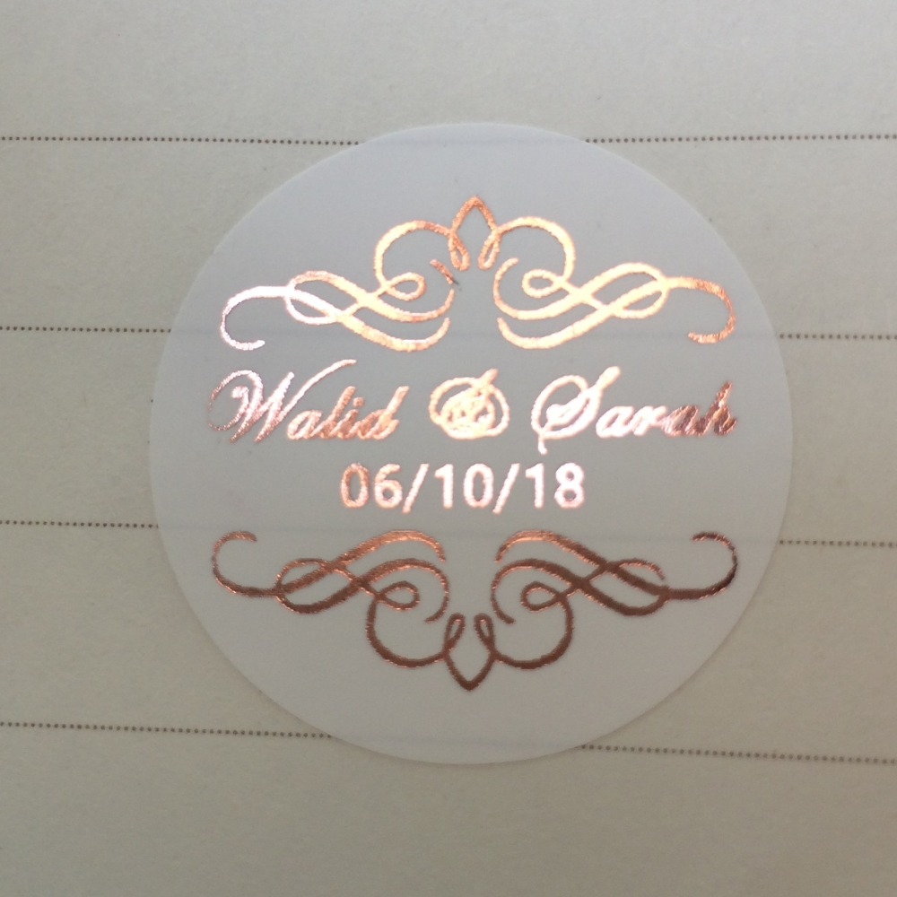 <font><b>90</b></font> Rose gold personalized wedding stickers Pink gold marriage save the date invitation envelop seal favors bag white labels tags image