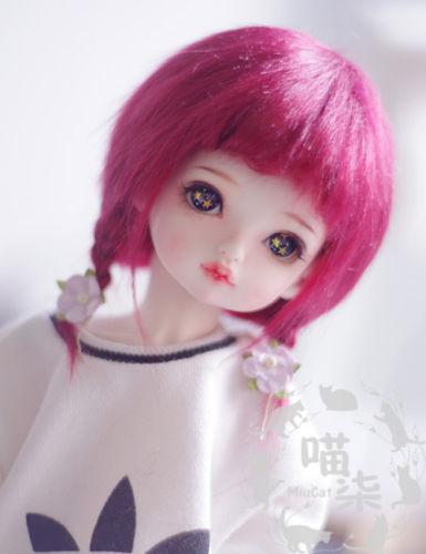 New 1/12 3-4 Inch 9-10cm 1/8 4-5 Inch 12cm 14cm BJD Fabric Fur Wig Wine Red For AE PukiFee Lati Doll Antiskid BJD Doll Wig