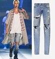 Melhor versão temor de deus NEVOEIRO homens Selvedge zipper destruído buraco skinny slim fit bieber Vindima rasgado calças de brim azul jeans