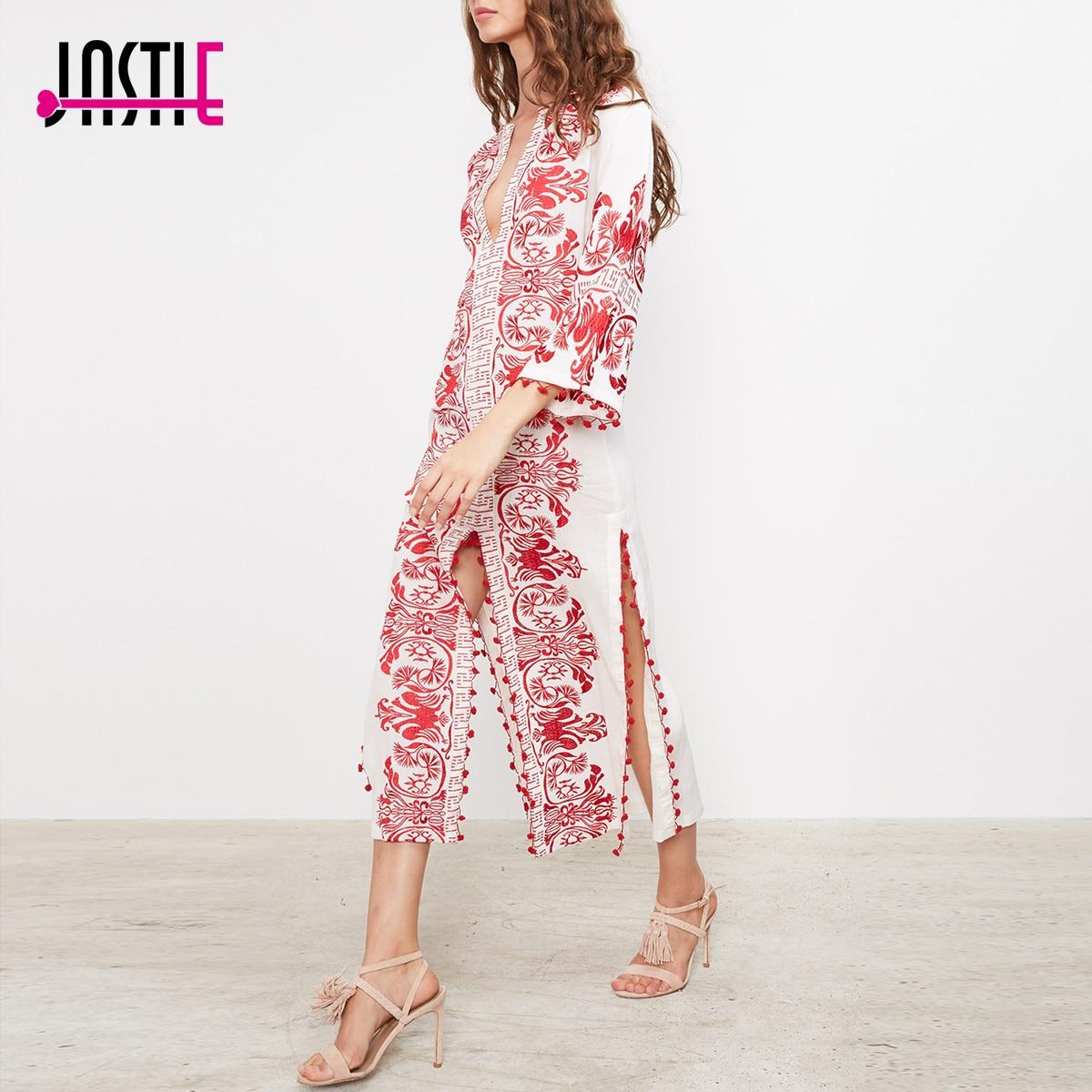 все цены на Jastie Red Embroidered Long Tunic Midi Dress Caftan Slits and Pom Pom Trim Chic Beach Boho Dress Summer Dresses Women Vestidos