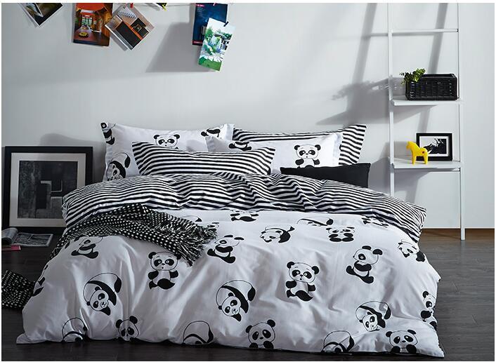 IvaRose 2017 Cartoon Black White Panda Bedding Set Queen
