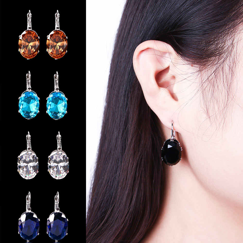 Silver Crystal Cubic Zircon Big Stone Drop Earrings for Women Fashion Party Jewelry Valentines Day Gift