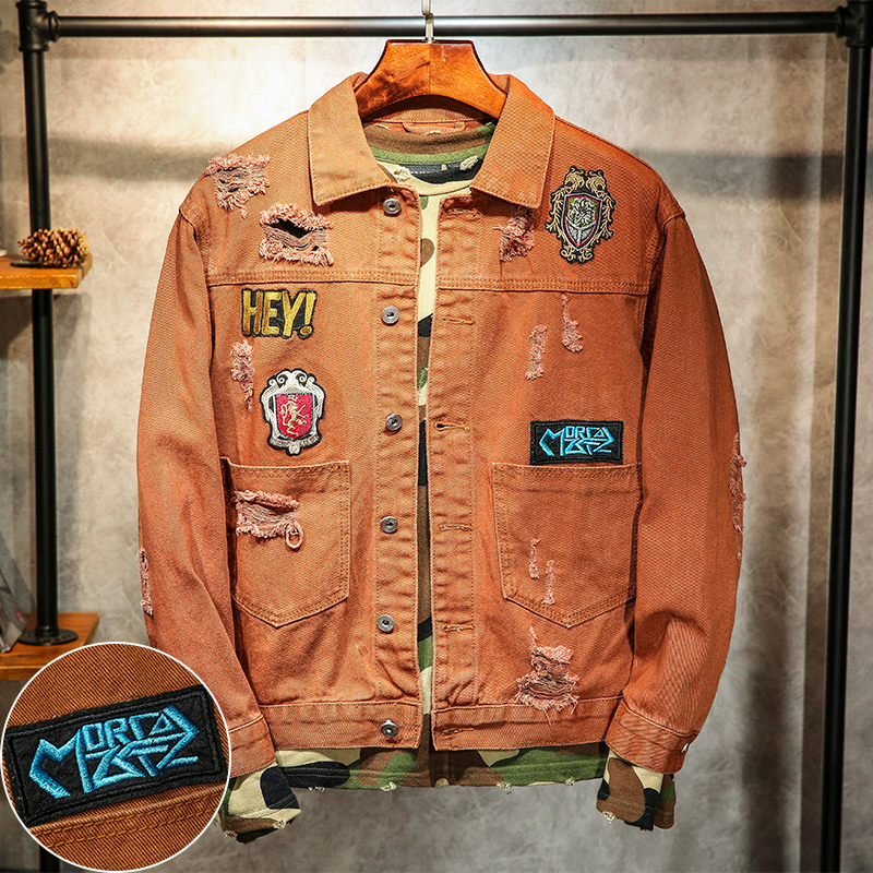 2018 New Korean retro tide men's hole patch embroidered denim jacket youth casual jacket