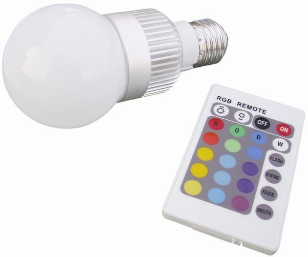 5W RGB LED bulb with IR controller 3, E27 base, 110-240 VAC input