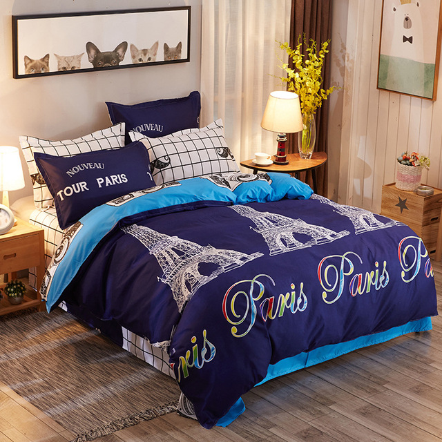 4pcs Bedding Set Duvet Cover Flat Sheet Sofa Bed Linen With Bedclothes  Pillowcase 100% Cotton