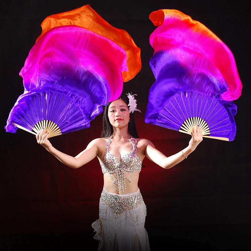 2018 1 pair(left+right) 100% Real silk belly dance fan veil Blue/Dark Blue 1.8m 20 Colour