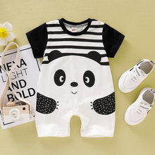 Newborn Baby Boys Girls Short Sleeve Cartoon Panda Animal Striped Romper Jumpsuit Infantil Clothing Costume Kids Suit Summer(China)