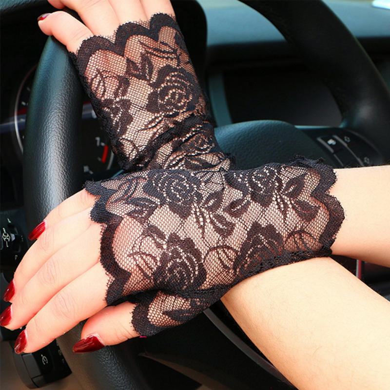 Short UV-Proof Driving Gloves White Black Fingerless Lace Gloves Lace Accessories For Bride For Women