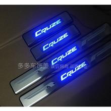 Высокое качество светодиодный Накладка порога нержавеющей стальной ремешок, синий циферблат 4 шт./компл. автомобильные аксессуары для chevrolet Cruze 2009