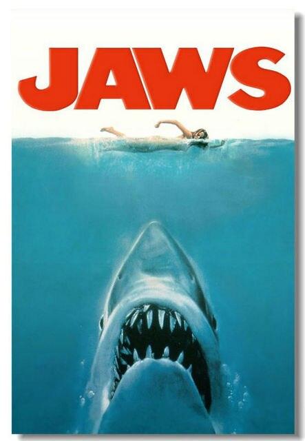 Jaws JAWS Movie Cloth SIlk Poster 48x32,36x24,18x12 inch Big Huge Room Bar Mural Prints Free Ship (003)