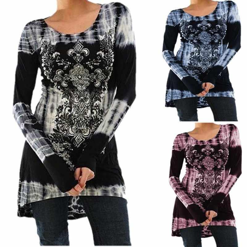 Осенняя футболка Femme, Повседневная футболка с цветочным принтом, женская футболка с круглым вырезом, женская рубашка с длинным рукавом, черная футболка, женская футболка, Топ
