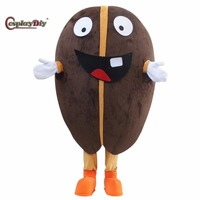 CosplayDiy Lovely Coffee Bean Mascot Costume Cartoon Mascot Costumes For Adult Unisex Halloween Christmas Party Custom Made