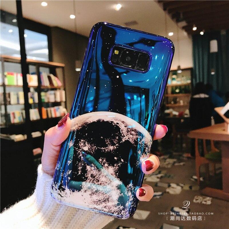 Митч Star Blue Light блеск глянцевый корпус телефона для Samsung S9 Винтаж Луна Телефон чехол для Samsung S9