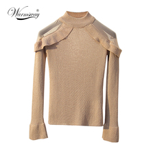 WARMSWAY Lurex knitwear women fashion slim off shoulder Mesh Patchwork Flare sleeve Pullover Sweater Chic Basic top B-158