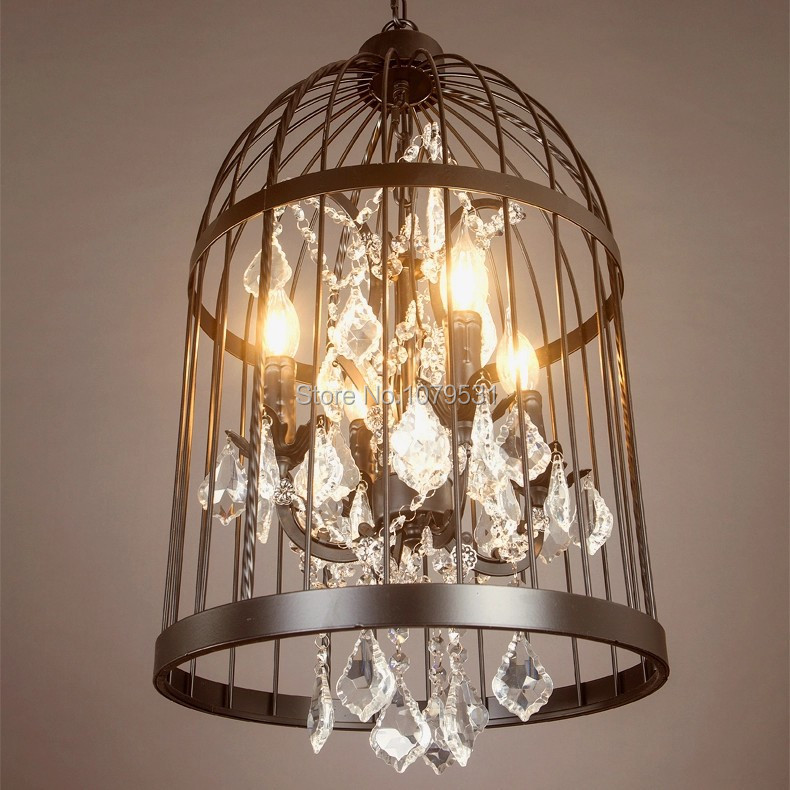 Nordic Crystal Birdcage Pendant Lights Iron Lampshade Home Decoration  American Country Vintage Industrial Coffee Bar Lamp Novelty LED E14 Bulb  110-220V ...