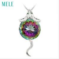 Natural mystic kwarty srebrny mouse wisiorek, duże okrągłe 14mm, moda i piękne zwierzę wzór, fine jewelry dla kobiet
