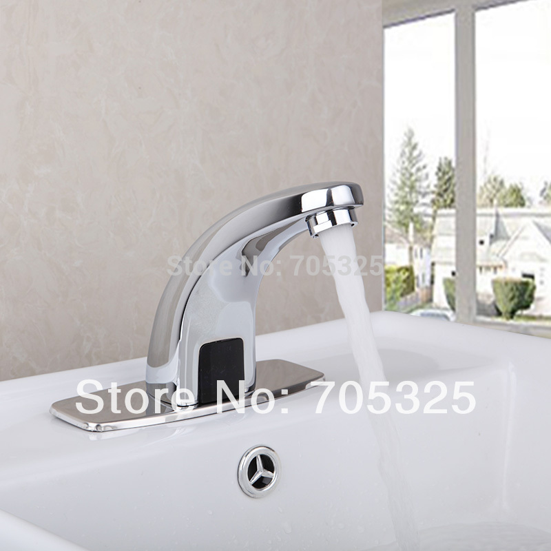 New Ceramic Deck Mounted Bathroom Automatic Hand Touch Tap Stream Single Handle Brass Body Mixer Chrome Finish Faucet Ys-89006 deck mounted 5pcs brass body bathroom bathtub sink mixer tap chrome finish faucet set ly 12dd1