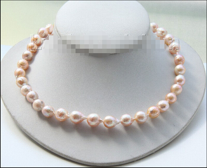 shipping17 11mm baroque pink Reborn keshi pearls necklace j9516shipping17 11mm baroque pink Reborn keshi pearls necklace j9516