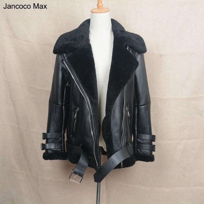 Jancoco Max 2018 Новая мотоциклетная обувь кожаная куртка панк Байкер Куртки Для женщин Для мужчин Пояса из натуральной кожи пальто с Натуральный ...