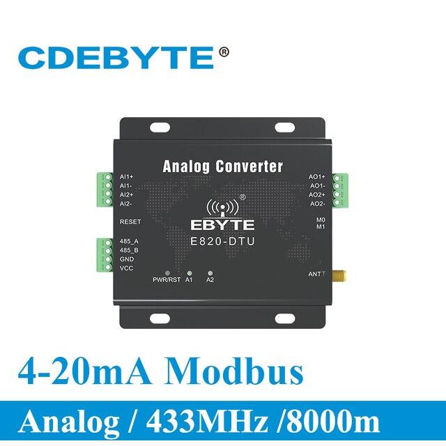 E820 DTU (2i2 433l) 433 mhz modbus 아날로그 수집 2 채널 무선 트랜시버 1 w rs485 인터페이스 433 mhz rf 모듈