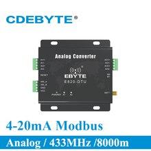 E820 DTU (2i2 433l) 433 mhz modbus aquisição analógica 2 canal transceptor sem fio 1 w rs485 interface 433 mhz módulo rf