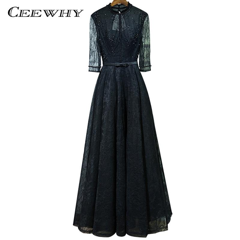 Ceewhy Vintage Lace Dress Long Black Evening Dress Half Sleeve