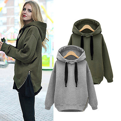 2017 New European fashion autumn women s top coat with long sleeves Hooded fleece Street clothes