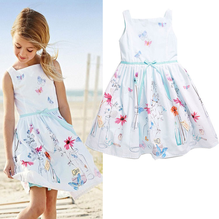 Kids Baby Girls Princess Party Flower Ball Gown High Quality Brief Print Sleeveless Formal Dresses 1-7YKids Baby Girls Princess Party Flower Ball Gown High Quality Brief Print Sleeveless Formal Dresses 1-7Y