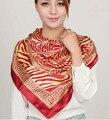 Lenço da senhora da mulher de cetim de seda das mulheres grande lenço do Poliéster verão protetor solar pashmina xale 90*90 cm