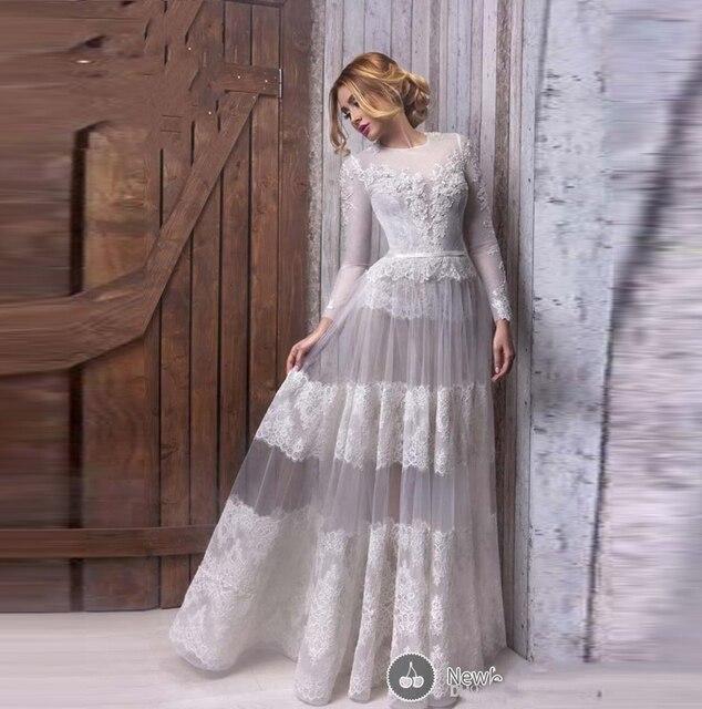 Hot Sale Chic Lace Vintage Long Sleeve Evening Dresses Long ...