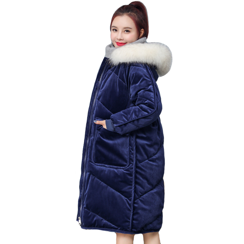 2019 New Arrival Winter Jacket Women Velvet With Fur Collar Womens Coat Long Cotton Padded Warm