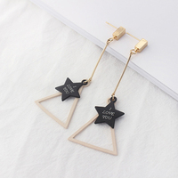 I Love You Triangle Star Earrings Long Stud Earrings Korean Style Fashion Vintage Jewelry Cheap