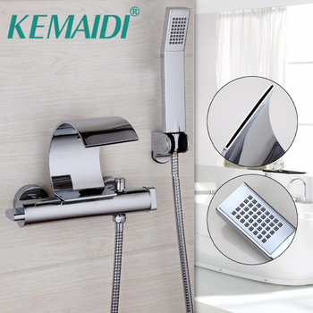 KEMAIDI Bathroom Bathtub Wall Mount Chrome Polished Solid Brass Waterfall Spout W/ Hand Sprayer Faucet Set