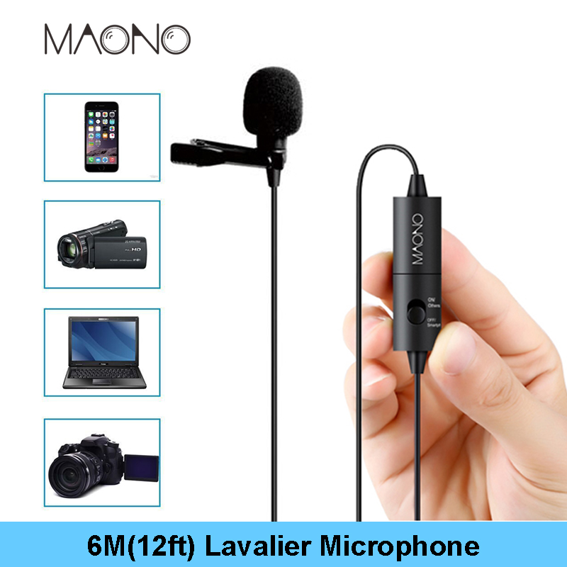 MAONO Lavalier Microphone 6M Clip-on Collar Condenser Microphone Handsfree Lapel Mic for Smartphone Canon DSLR Camera PC Laptop usb 300 kp driverless clip on webcam with built in microphone for pc laptop deep pink