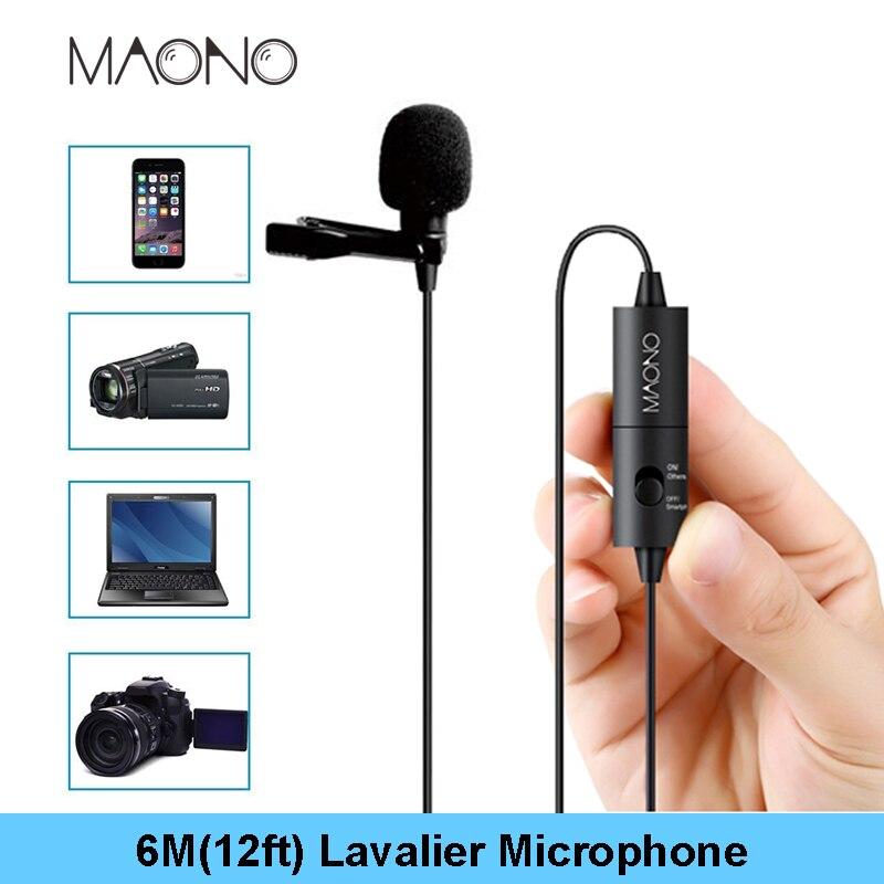MAONO micrófono de solapa 6 m Clip-Collar condensador micrófono manos libres micrófono de solapa para Smartphone Canon DSLR Cámara PC ordenador portátil