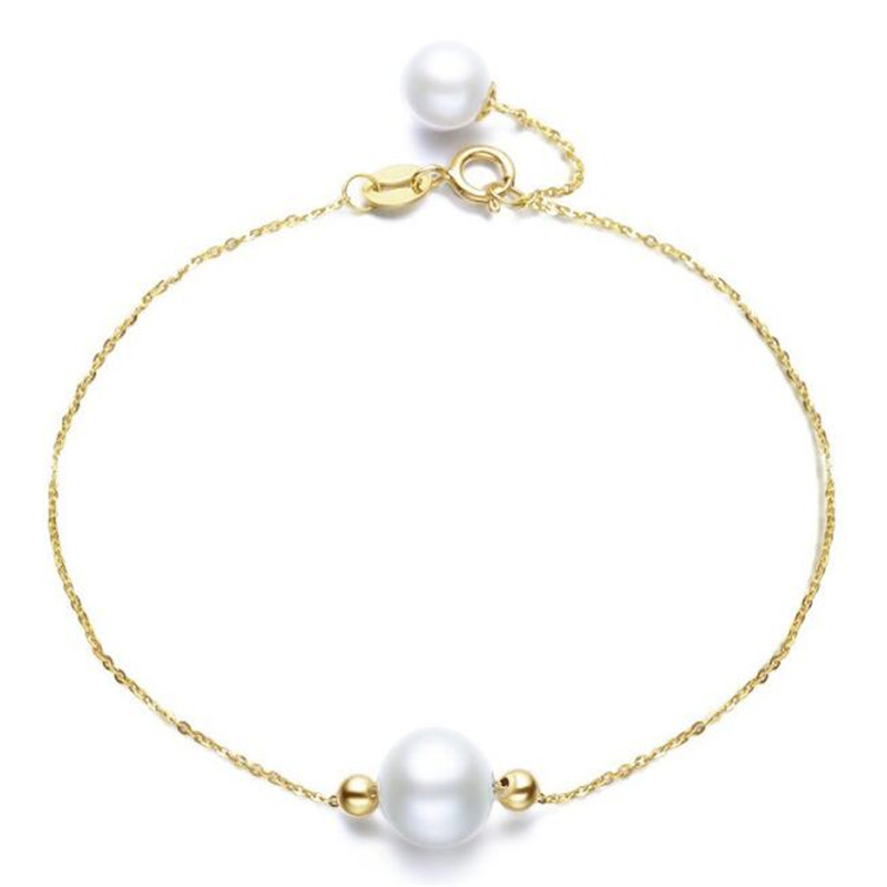 18K Yellow Gold AAAAA Natural Cultured Freshwater Pearl Trendy Chain Bracelets Round White Pearl For Young Lady Birthday Gifts